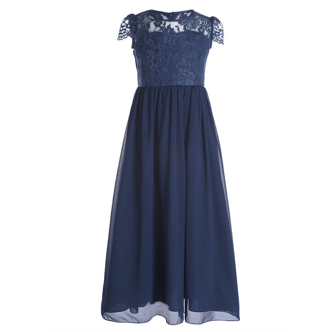 pOPPY dark navy blue  LACE CHIFFON FLOWER GIRL JUNIOR BRIDESMAID DRESS LOULOUS BRIDAL BOUTIQUE LTD UK