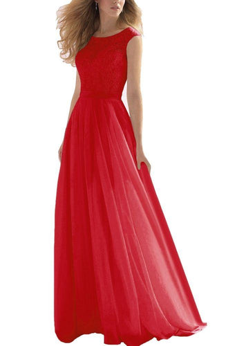 HAYLEY RED SCARLET CRIMSON LACE CHIFFON LONG BRIDESMAID EVENING PROM DRESS LOULOUS BRIDAL BOUTIQUE UK
