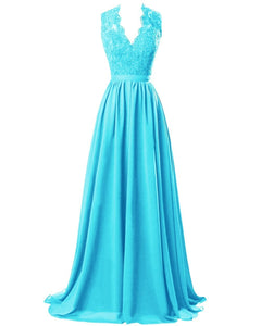 Aqua Spa Blue Turquoise lace chiffon long bridesmaid wedding prom evening ballgown dress cut out back Loulous Bridal Boutique Ltd UK