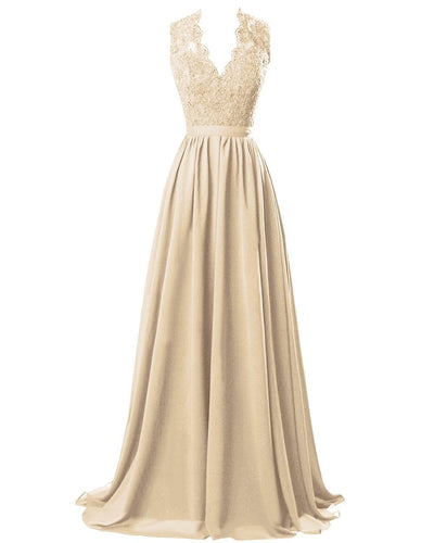 Champagne Cream  lace chiffon long bridesmaid wedding prom evening ballgown dress cut out back Loulous Bridal Boutique Ltd UK