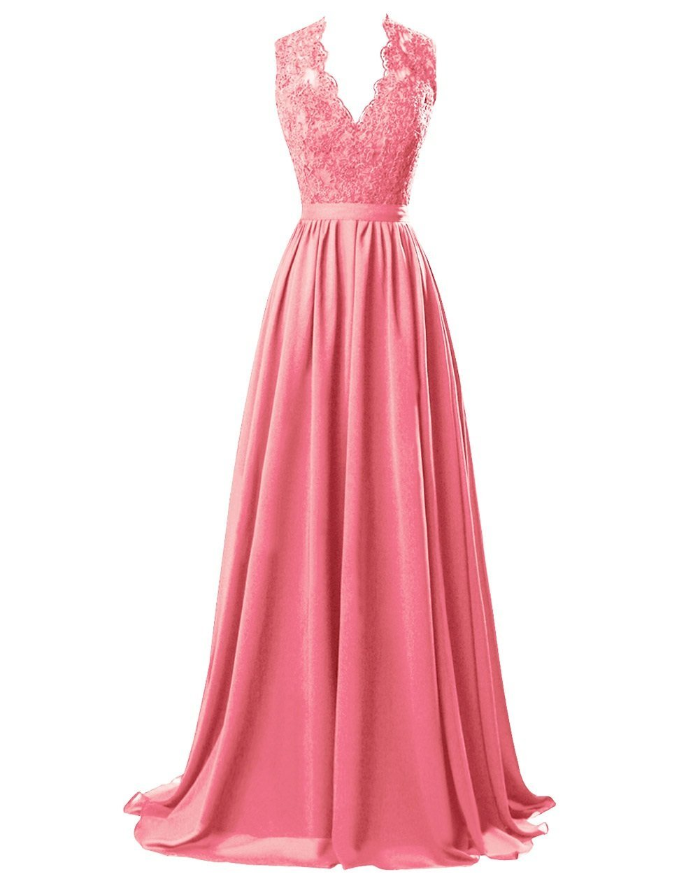 Coral Orange  lace chiffon long bridesmaid wedding prom evening ballgown dress cut out back Loulous Bridal Boutique Ltd UK