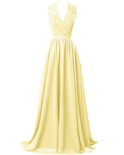 Lemon yellow  lace chiffon long bridesmaid wedding prom evening ballgown dress cut out back Loulous Bridal Boutique Ltd UK