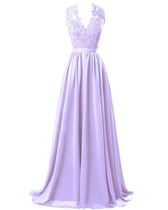 Lilac Sorbet Mauve Lavender Purple  lace chiffon long bridesmaid wedding prom evening ballgown dress cut out back Loulous Bridal Boutique Ltd UK
