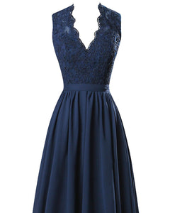 Rio dark navy blue lace chiffon vneck backless long bridesmaid wedding prom evening bridal dress loulous bridal boutique ltd uk