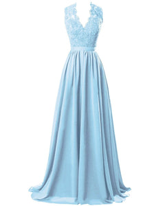 Pale Light Blue  lace chiffon long bridesmaid wedding prom evening ballgown dress cut out back Loulous Bridal Boutique Ltd UK