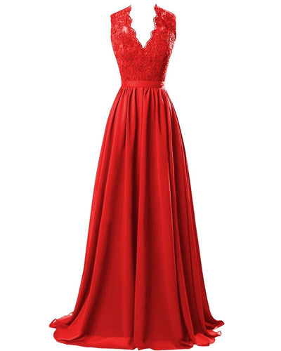 Red Scarlet Crimson lace chiffon long bridesmaid wedding prom evening ballgown dress cut out back Loulous Bridal Boutique Ltd UK