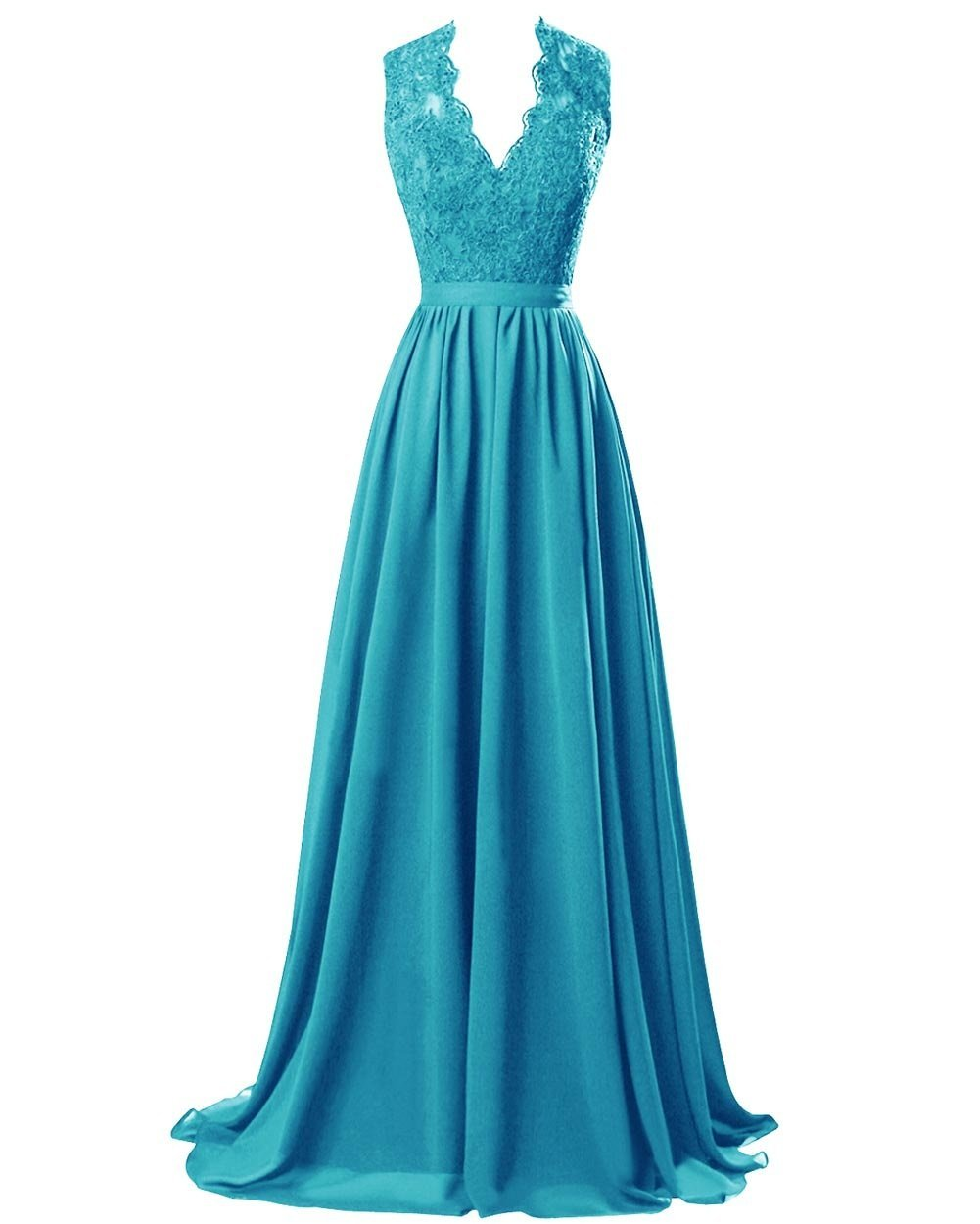 Turquoise lace chiffon long bridesmaid wedding prom evening ballgown dress cut out back Loulous Bridal Boutique Ltd UK
