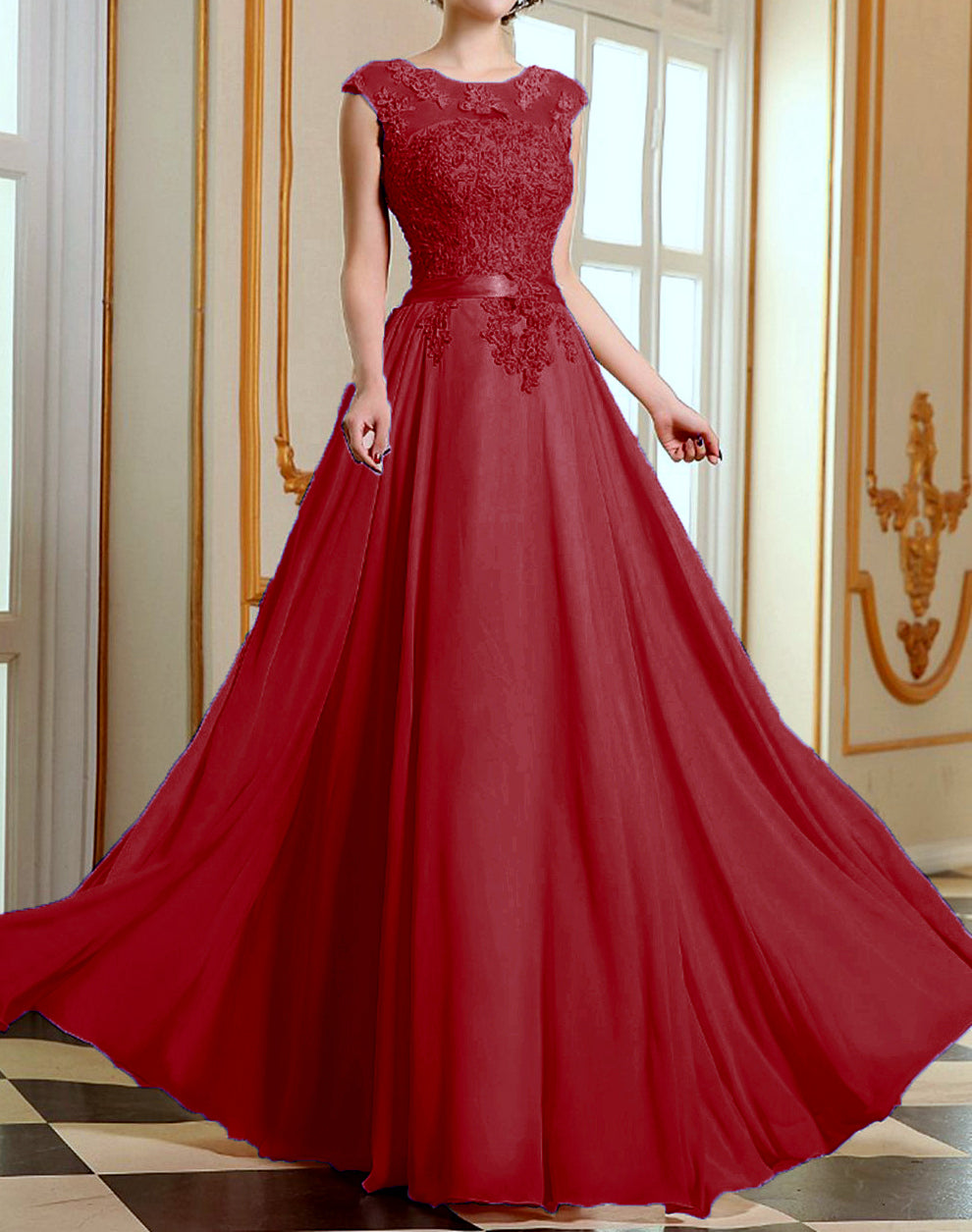 Ruby Berry Burgundy Red Wine Lace Chiffon Long Bridesmaid Wedding Bridal Prom Evening Ballgown dress uk
