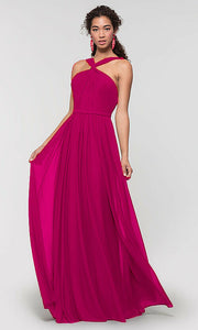 rachel cerise fuchsia hot pink halter neck chiffon long bridesmaid wedding bridal prom evening dress loulous bridal boutique ltd uk