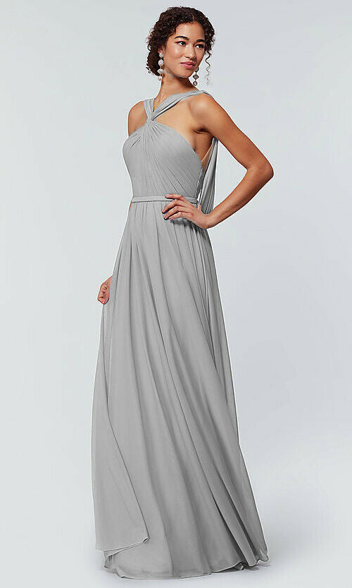 rachel light silver grey  halter neck chiffon long bridesmaid wedding bridal prom evening dress loulous bridal boutique ltd uk
