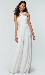 rachel white ivory  halter neck chiffon long bridesmaid wedding bridal prom evening dress loulous bridal boutique ltd uk