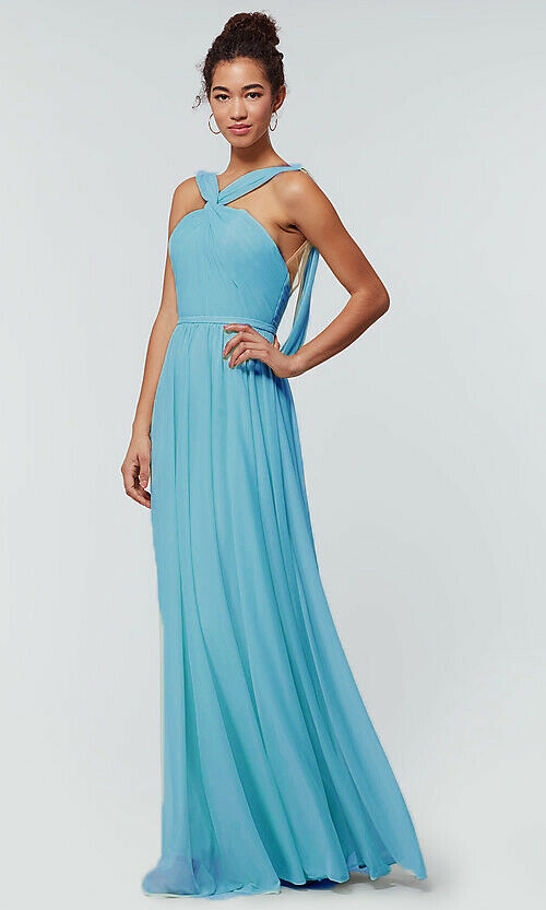Loulous Bridal Boutique UK Rachel Pale Cornflower Pastel Blue Halter Neck Bridesmaid dress