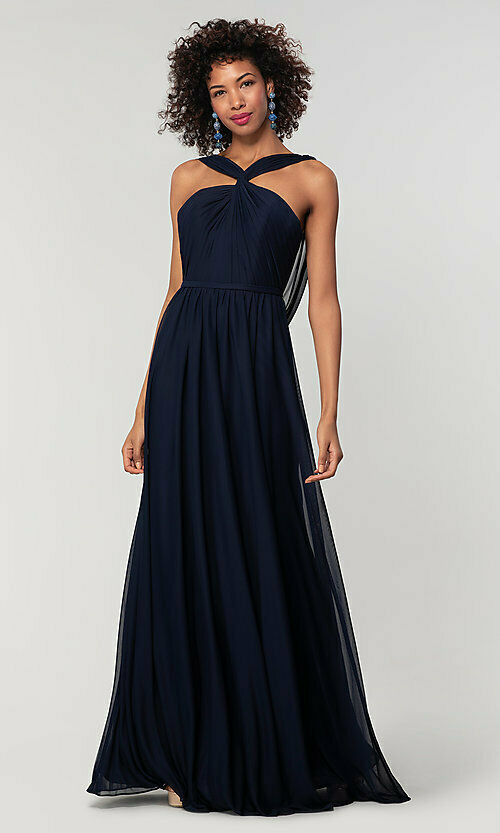 rachel dark navy blue halter neck chiffon long bridesmaid wedding bridal prom evening dress loulous bridal boutique ltd uk