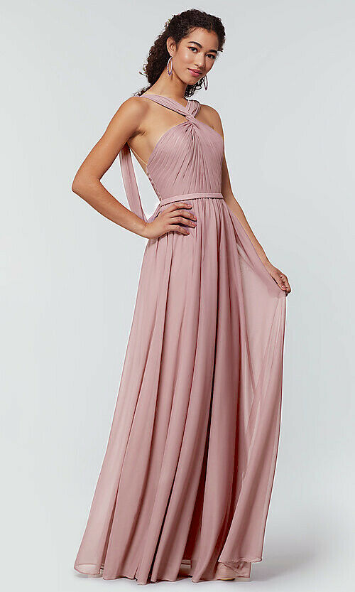 rachel dusty dusky blush pink halter neck chiffon long bridesmaid wedding bridal prom evening dress loulous bridal boutique ltd uk