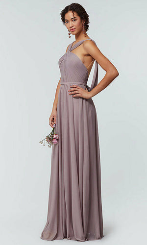 rachel dusky lavender mauve dusty  halter neck chiffon long bridesmaid wedding bridal prom evening dress loulous bridal boutique ltd uk
