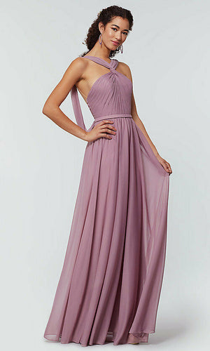 Rachel Lavender Mauve Halter Neck Twist Front Bridesmaid Wedding Bridal Dress Loulous Bridal Boutique UK