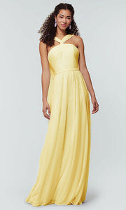 rachel yellow lemon  halter neck chiffon long bridesmaid wedding bridal prom evening dress loulous bridal boutique ltd uk