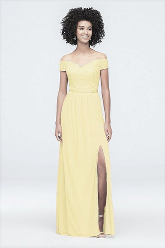Shelley  lemon  lace chiffon on off shoulder side slit long bridesmaid prom wedding dress loulous bridal boutique ltd uk