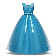 Sienna blue tulle chiffon lace long flower girl junior bridesmaid girls party dress loulous bridal boutique ltd ukuk