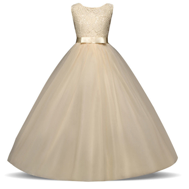 Sienna champagne cream tulle chiffon lace long flower girl junior bridesmaid girls party dress uk