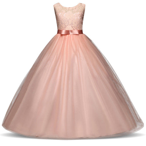 Sienna Pink tulle chiffon lace long flower girl junior bridesmaid girls party dress uk