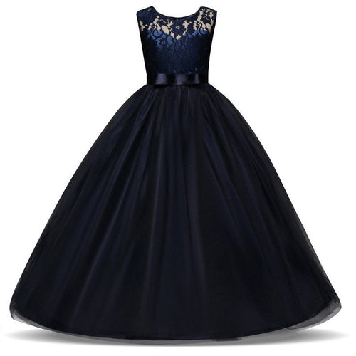 Sienna navy blue tulle chiffon lace long flower girl junior bridesmaid girls party dress uk