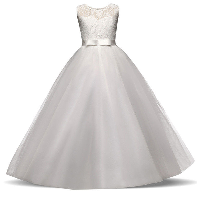 Sienna white tulle chiffon lace long flower girl junior bridesmaid girls party dress loulous bridal boutique ltd ukuk