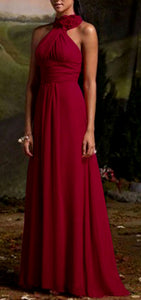 Suri berry burgundy corsage chiffon halter neck long bridesmaid wedding bridal prom evening dress loulous bridal boutique ltd uk