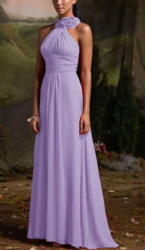 Suri lilac purple corsage chiffon halter neck long bridesmaid wedding bridal prom evening dress loulous bridal boutique ltd uk