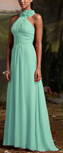 Suri pale mint green corsage chiffon halter neck long bridesmaid wedding bridal prom evening dress loulous bridal boutique ltd uk