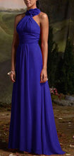 Suri royal blue corsage chiffon halter neck long bridesmaid wedding bridal prom evening dress loulous bridal boutique ltd uk