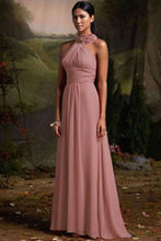 Suri dusky dusty blush pink corsage chiffon halter neck long bridesmaid wedding bridal prom evening dress loulous bridal boutique ltd uk