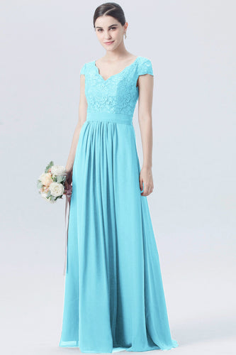 Taylor aqua spa turquoise blue short sleeved v neck lace chiffon long bridesmaid wedding bridal dress prom evening loulous bridal boutique ltd uk