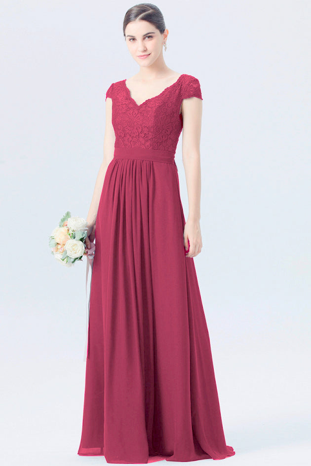 Taylor berry burgundy short sleeved v neck lace chiffon long bridesmaid wedding bridal dress prom evening loulous bridal boutique ltd uk