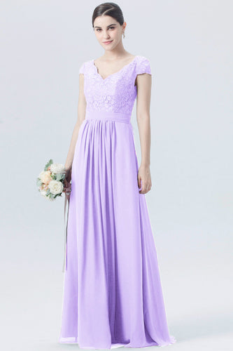 Taylor lilac mauve purple  short sleeved v neck lace chiffon long bridesmaid wedding bridal dress prom evening loulous bridal boutique ltd uk