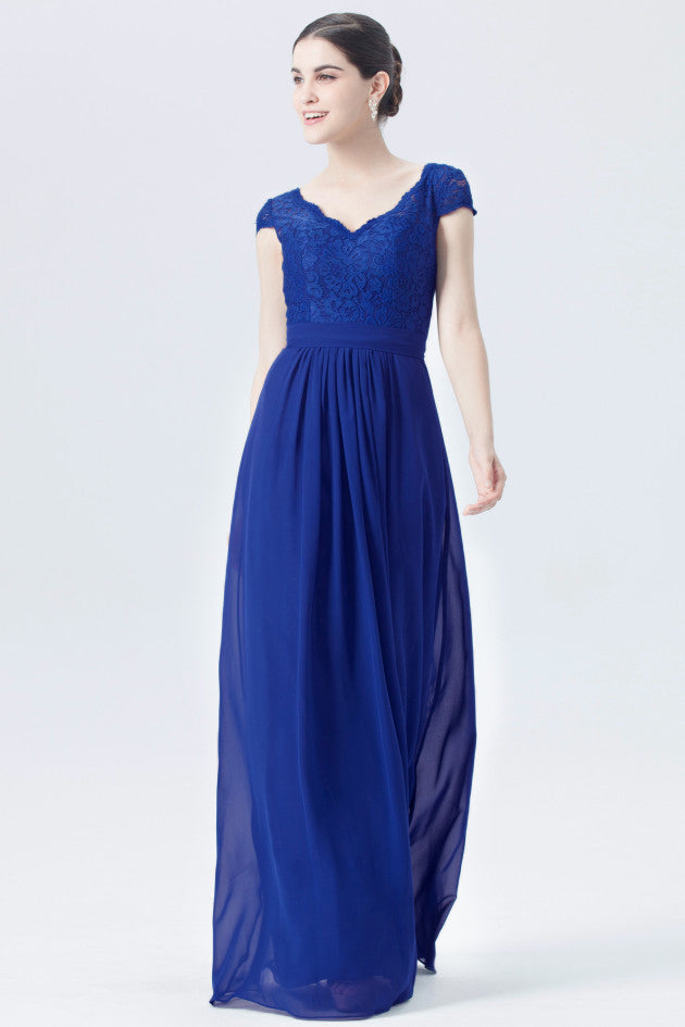 Taylor royal blue short sleeved v neck lace chiffon long bridesmaid wedding bridal dress prom evening loulous bridal boutique ltd uk