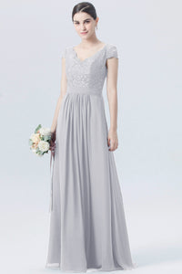 Taylor silver grey short sleeved v neck lace chiffon long bridesmaid wedding bridal dress prom evening loulous bridal boutique ltd uk