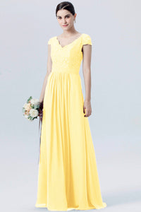 Taylor Buttercup Yellow Long Bridesmaid Wedding Evening Bridal Dress V Neck cap sleeves Loulous Bridal Boutique UK