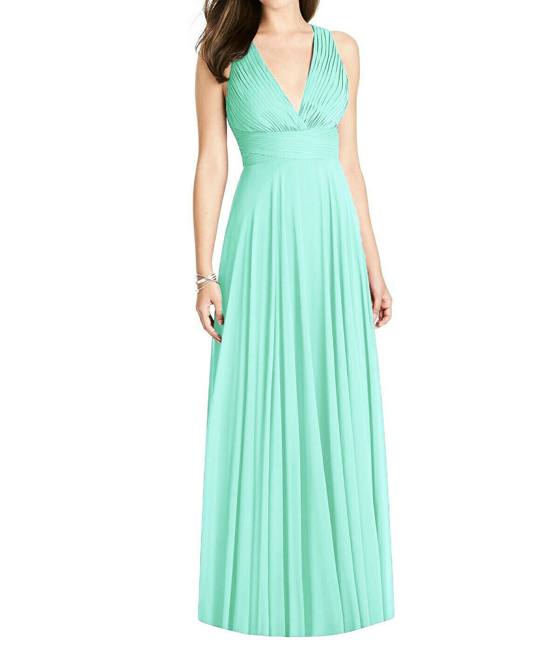 Tiffany pale mint  green pleat detail v neck long bridesmaid wedding dress loulous bridal boutique ltd uk