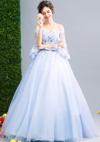Wendy pale light blue fairy tale lace ballgown evening wedding bridesmaid formal occasion bride bridal dress uk