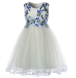 Butterfly - White Girls Dress