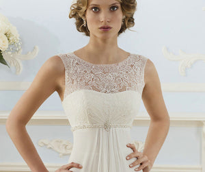 yvette ivory lace chiffon empire bridesmaid wedding bridal dress uk loulous bridal boutique ltd