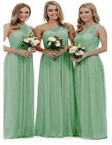 Zoe bamboo sage green grecian one shouldered long bridesmaid wedding bridal evening prom dress uk Loulous Bridal Boutique