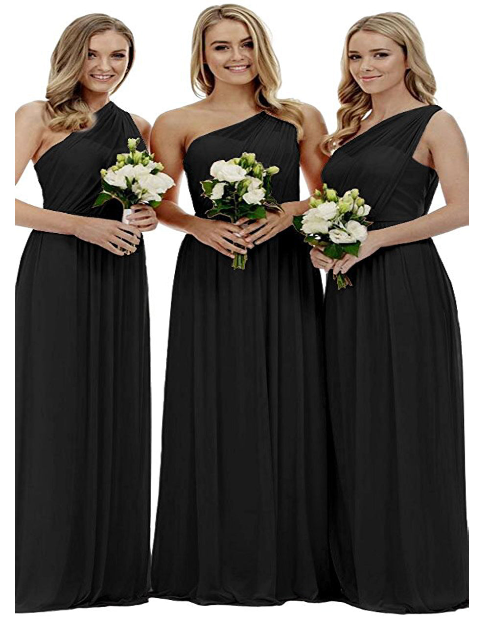 Zoe black grecian one shouldered long bridesmaid evening wedding bridal evening prom dress uk Loulous Bridal Boutique