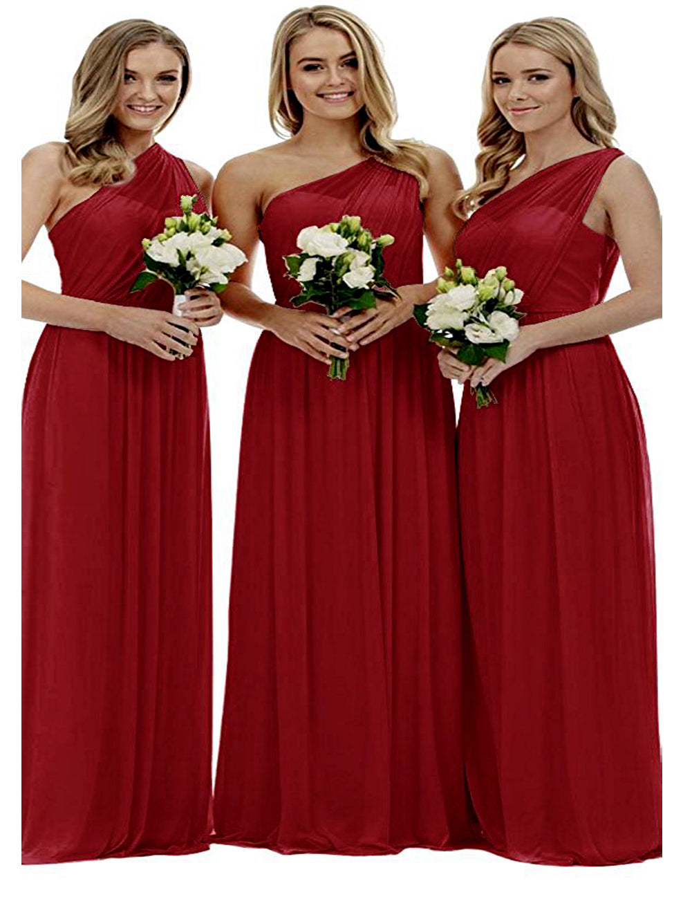 Zoe berry cranberry burgundy wine claret maroon grecian one shouldered long bridesmaid wedding bridal evening prom dress uk Loulous Bridal Boutique