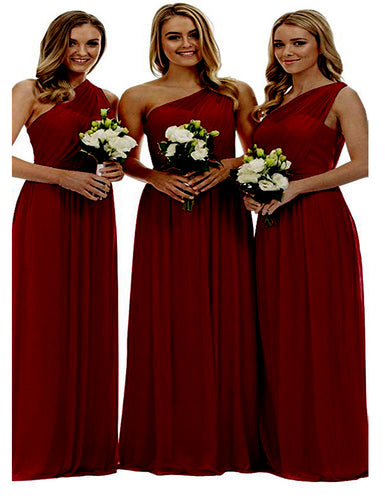 Zoe burgundy wine claret maroon grecian one shouldered long bridesmaid wedding bridal evening prom dress uk Loulous Bridal Boutique