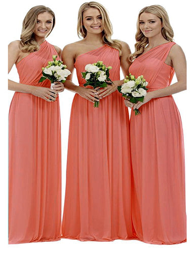 Zoe coral orange grecian one shouldered long bridesmaid wedding bridal evening prom dress uk Loulous Bridal Boutique