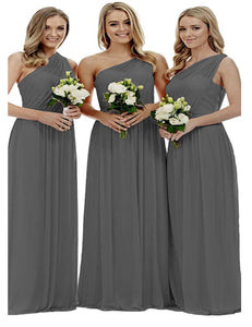 Zoe dark steel charcoal grey grecian one shouldered long bridesmaid wedding bridal evening prom dress uk Loulous Bridal Boutique