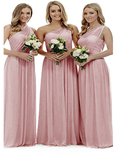 Zoe dusky pink blush grecian one shouldered long bridesmaid wedding bridal evening prom dress uk Loulous Bridal Boutique