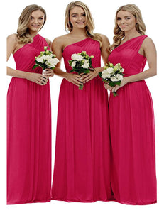 Zoe Fuchsia cerise hot pink grecian one shouldered long bridesmaid wedding bridal evening prom dress uk Loulous Bridal Boutique